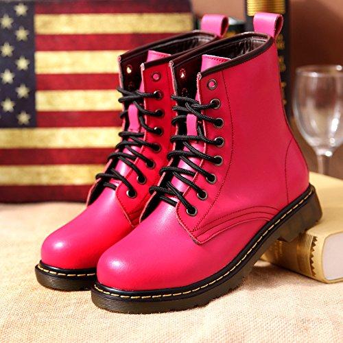 &zhou Base di spessore pelle calda MS autunno/inverno stivali stivali Martin marea stivale moda rose red velvet