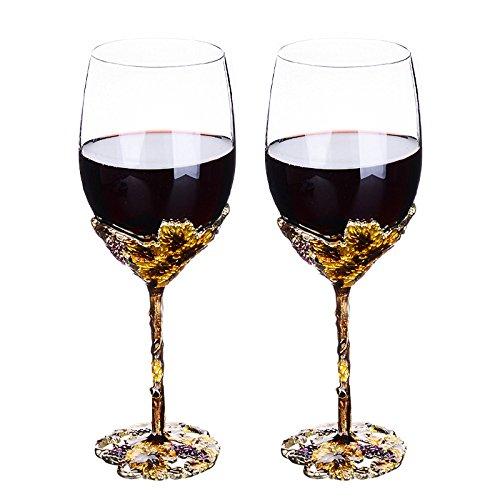 WAYDAY Emaille Rotwein Kelch Weingläser 400ml - 2 Gläser Set Starke Elegante Kristall Glas mit...