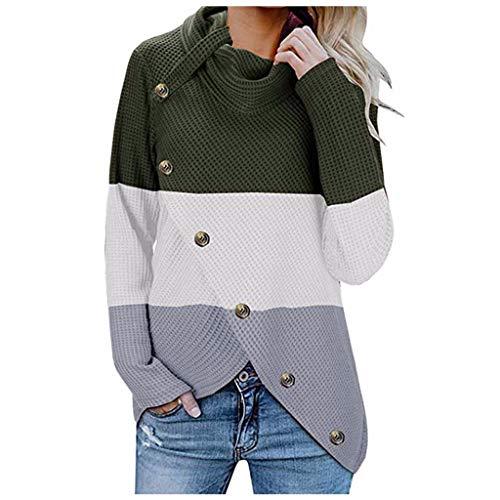 KPILP Pullover Damen Warm Asymmetrische Strickjacke Rollkragen Cardigan Herbst Winter Übergangs Slim Lässig Gestrickt Farbblock Mode Sweater Outwear Knopf Strickmantel