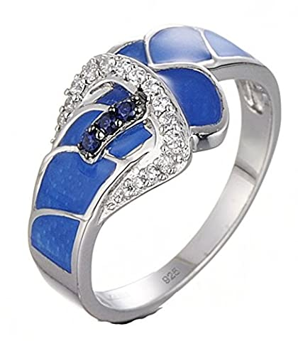 SaySure - Silver Ring for Women Blue Created Sapphire (SIZE
