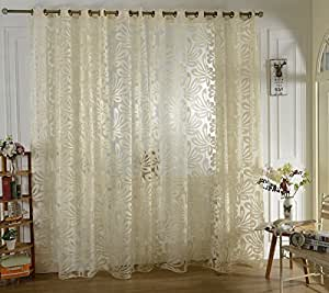 Buy imported jacquard 3d big flower curtain sheer with eyelet for living room beige online at - Amazon curtains living room ...