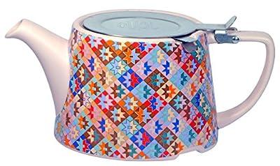 London Pottery Company Kaffe Fassett Oval-filter en céramique Infuseur Théière, 800ml (82,8cl)–Motif patchwork