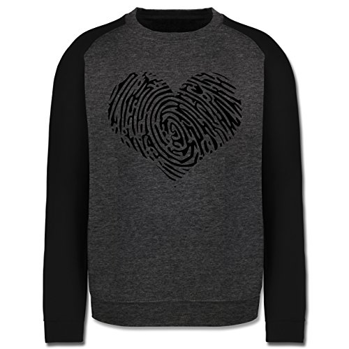 Statement Shirts - Herz Fingerabdruck Schwarz - Herren Baseball Pullover Dunkelgrau Meliert/Schwarz
