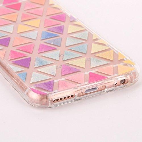 iPhone 6 Plus Custodia, iPhone 6S Plus Cover TPU Trasparente, JAWSEU Apple iPhone 6/6S Plus 5.5 Case Caso Coperture Bella Creativo Brillante Cristallo Trasparente Custodia Cover per iPhone 6S Plus Ult Triangolo colorato