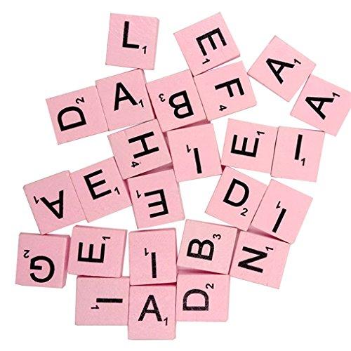 100PCS Mehrfarbig Holz Buchstaben Taste DIY Craft Nähen Scrapbooking, holz, rose, Einheitsgröße - Craft-tasten