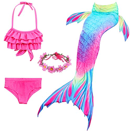 Unbekannt Mädchen 4 Stück Meerjungfrauenschwanz Kleid zum Schwimmen Shark Cosplay Kostüm Neckholder Rüschen Tops,Aspicture,150cm (Shark Kleid Für Erwachsene Kostüm)