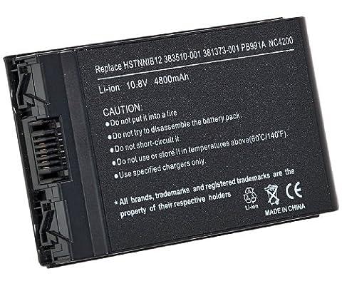 4400 mAh 10.8V Noveau remplacement Batterie d'ordinateur portable pour Compaq HP Business Notebook NC4200, NC4400, TC4200, TC4400 Série P.N.: 381373-001, HSTNN-Ob27