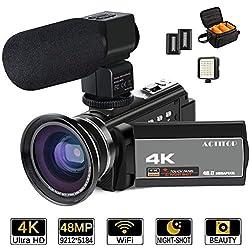 caméscope 4K, Actitop Video Camera 48MP Full HD 1080p WiFi IR Vision de Nuit 16x Digital Zoom vidéo caméscope avec Micro Externe, Objectif Grand Angle, LED Video Light et Sac de Camera