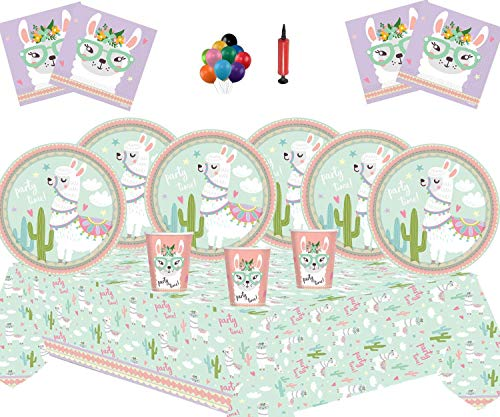 Lama Party Supplies Einweg Kinder Geburtstag Lama Party Geschirr Deluxe Kit für 16 Personen-Lama Teller Tasse Servietten Tischdecke Deluxe Kit