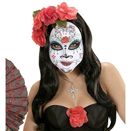 aske Halloweenmaske Sugar Skull Gesichtsmaske La Catrina Tag der Toten Horrormaske Skull Mask Totenkopf Mexikanische Totenmaske Halloween (Sugar Skull Maske)