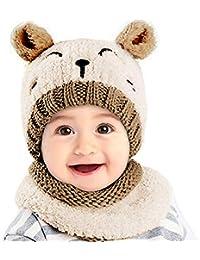UKLink Bonnet et écharpe d hiver pour Tout-Petits Bonnets d hiver Chauds  avec Cache-Oreilles pour bébés de 1 à 3… 943d5b390ad