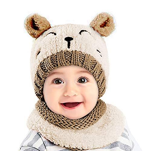 d6598575a Conjunto de gorros y bufanda de invierno para bebés. Niños y niñas de 1 a