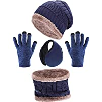 4 Pieces Ski Warm Set includes Winter Hat Scarf Warmer Gloves Winter Outdoor Earmuffs for Adults Kids (Set 3)