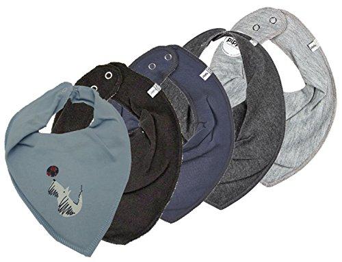 Pippi 4er Set ~ zur Auswahl ~ Baby Dreieckstuch Halstuch 4 Stück Organic Cotton + 1 GRATIS Tuch ~ 5er Pack (grey melange-dark grey melange- stone grey-schwarz&Hund mti Ball) (Hund Bälle Baumwolle)