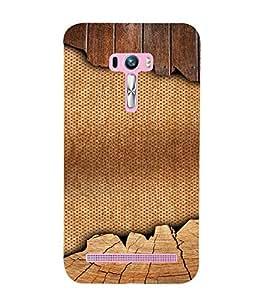 PrintVisa 3D Jute & Wood Pattern 3D Hard Polycarbonate Designer Back Case Cover for Asus Zenfone Selfie