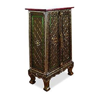 Asia Wohnstudio Glass Mosaic Double Door Cabinet, Handmade in Thailand, Wooden Cupboard, Beautiful Colonial Furniture