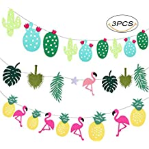 Yansion Hawaii Banner 3 Piezas con Estampado de flamencos, Cactus, piña decoran Fiesta de