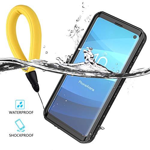 LifeePro Galaxy S10 Wasserfeste Hülle, [Schwimmgurt] IP68 Zertifiziert Wasserdicht Outdoor Tasche Stoßfest Staubdicht Kratzfestes Robuste Schutzhülle mit Displayschutz Unterwasser Handyhülle Schwarz