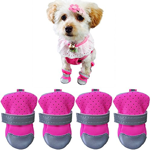 Limiz Transpirable de Malla Slip-On Boots Velcro Strap Softgels Sole Spring Summer 4 PCS Puppy Sneakers Sandalias Paw Protector 3 Colores 4 Tamaño (Color : Pink, Size : 40#)