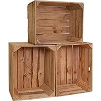 3 Set CHICCIE Vintage Caja de madera - viejo Caja de fruta - Caja de vino - Natural Look Usado - Claro