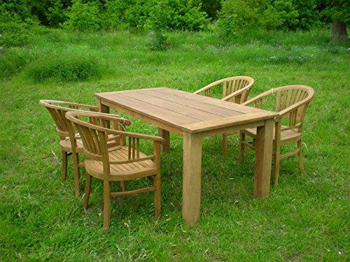TEAK Gartentisch BOB Teakholz massiv 180x90 cm Tisch Gartenmöbel