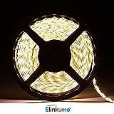 ELINKUME nicht wasserdicht 10 M 2835 SMD (warmweiß) unterstützt Max 1200Leds Streifen, LED Band für Gärten/Häuser/Küche/Autos/Bar
