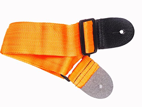 Acoustic Nylon Electric (Youth Kids Orange Nylon Guitar Strap Faux Leather Ends Acoustic Electric 28-48in)