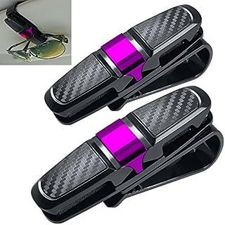 2 Pack Brillenhalter für Auto Sonnenblende, FineGood Sonnenbrillen Brillen mit Kartenkarten Clip - Rose