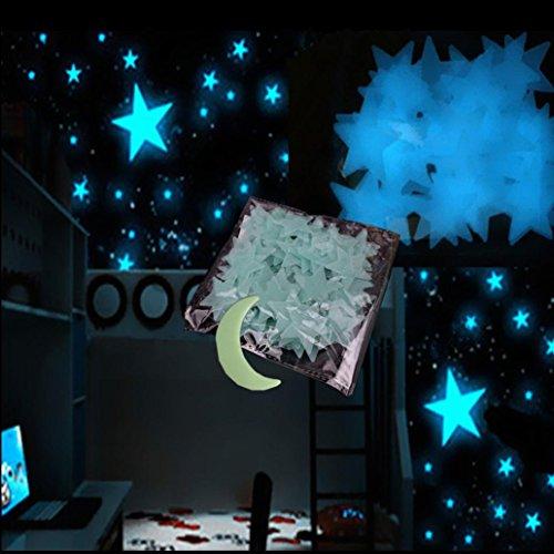 wandaufkleber wandtattoos Ronamick 101PC Blue Light Home Wand Dreamy Nachtleuchtende Sterne Aufkleber Abziehbild Wandtattoo Wandaufkleber Sticker Wanddeko (Blau) (Abziehbild-wand-aufkleber)
