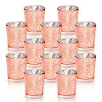 LA BELLEFÉE Mercury Glass Votive Candle Tealight Holder Set of 12 Speckled Rose Gold for Weddings, Parties and Home Decor