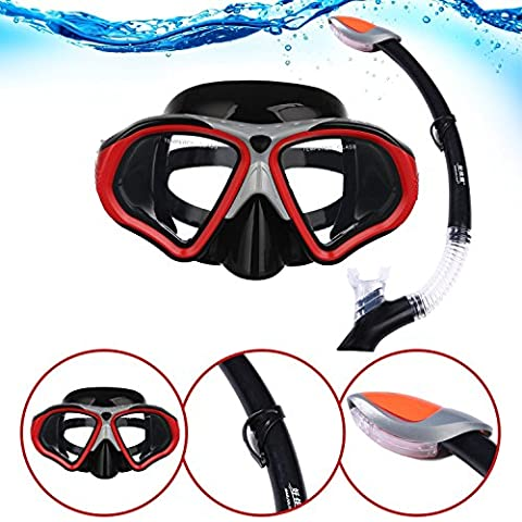 i-Sports Pro Adult Snorkel and Mask Set - Watertight, Anti-Fog and Comfortable with Crystal Clear Vision Ready for Underwater Exploring! (Red)