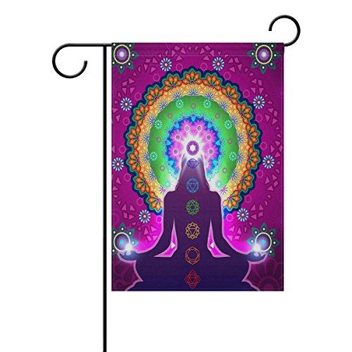 MUMIMI Chakra-Meditation-Mandala - Bandera decorativa de doble cara para jardín (28 x 40 cm)