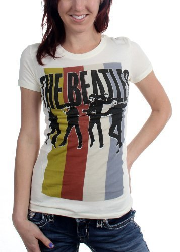 The Beatles - Da donna Stripes Standing Group T-Shirt, Size: Small, Color: Cream