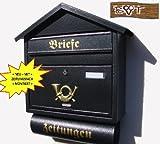 NEU Briefkasten S XXL anthrazit schwarz gold mit Zeitungsrolle fertig montiert Postkasten Post