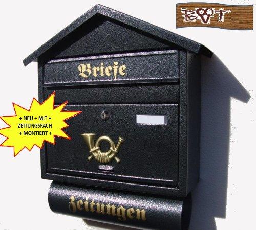 Wandbriefkasten Briefkasten Postkasten Zeitungsfach Zeitungsbox  Figura schwarz