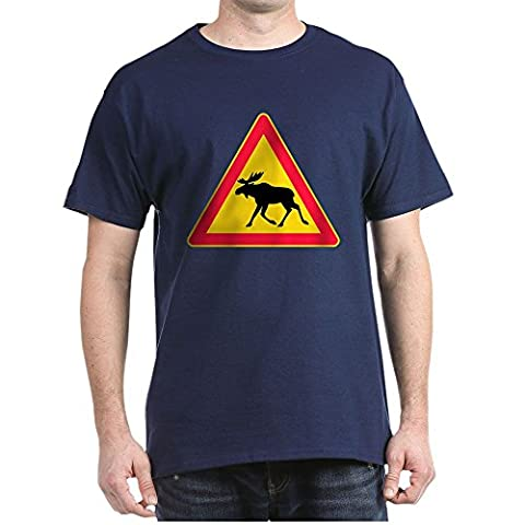 CafePress - Moose Crossing Road Sign - 100% Cotton T-Shirt