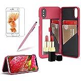 Girlyard Spiegel Hülle mit Brieftasche für iPhone X, Hart PC Schutzhülle Flip Case Standfunktion Kartenfach Klapphülle Anti-Kratzer für Apple iPhone X - Rose Rot