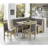 Pharao24 Eckbankgruppe in Grau Stoff ausziehbarem Tisch