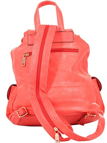 Lucky Star Damen Rucksackhandtasche - Backpack - Rucksack, 28x31x16 cm (BxHxT), T999 Red
