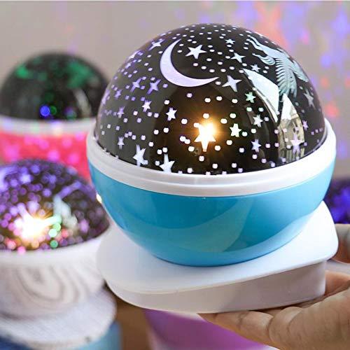 RNGNBKLS 2019 Neueste Kinder Sterne Nachtlicht Sterne Projektorlampe 8 Farbkombinationen USB + Batteriebetrieben Zwei Modi Kinder Geschenk Für Geburtstag,Blue