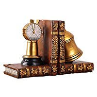Books and Bell Resin Bookends Antique Style Home Decoration Crafts Bookcase Decoration