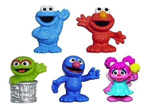 Sesame Street Friends Grover, Elmo, Cookie Monster, Oscar the Grouch, & Abby Cadabby Figures 2 1/2