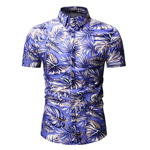 Aiserkly Herren Casual Slim Fit Kurzarm Printed Stehkragen Button Shirt Top Bluse