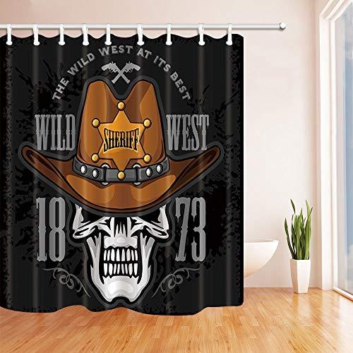 Nyngei Wild Western Decor Cowboy Skull en el Sombrero y la Estrella del Sheriff en Grunge Cortinas de Ducha Moho Resistente Tela de poliéster Decoraciones para el baño 180X180CM
