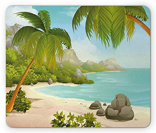WYICPLO Tropical Mouse Pad, Exotic Beach with Coconut Palm Trees and Rocks Journey Oceanic Coastal Design, Standard Size Rectangle Non-Slip Rubber Mousepad, Aqua Green -