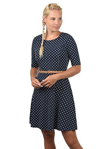 VERO MODA Scarlet Damen Jerseykleid Shirtkleid Kleid Mit Rundhals-Ausschnitt Elastisch, Größe:XL, Farbe:Navy Blazer/White Dots