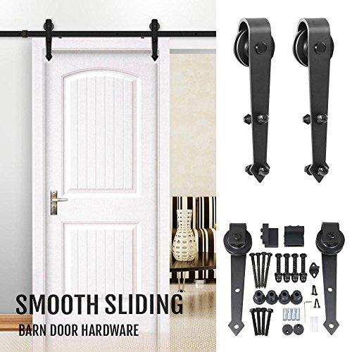 tinkertonk modern sliding barn door closet hardware track system unit for single wooden door 6 ft black