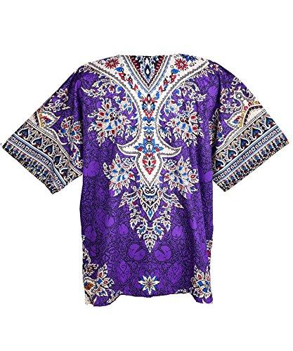 Lofbaz - Unisex Dashiki - Traditionelles Oberteil mit afrikanischem Druck Ethnic Violett