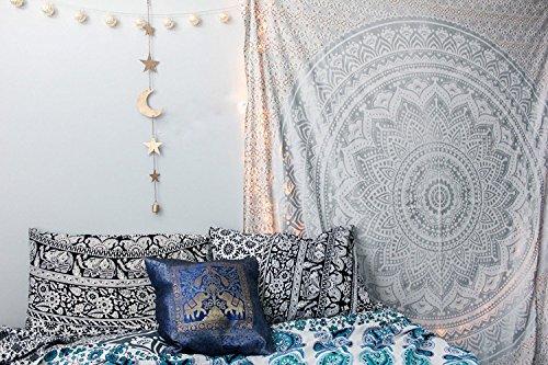 Tapestry Queen ombre Gift hippie arazzi mandala Bohemian Psychedelic intricato indiano copriletto 233,7x 208,3cm Aakriti Gallery Silver