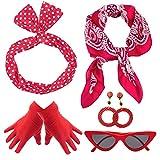 Yansion Lot d'accessoires de déguisement style années 50, écharpe, œil de chat, lunettes, bandeau, boucles d'oreilles, gants années 50, pour femmes, enfants, jeux de rôle, fête